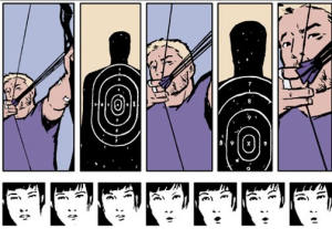 This image is accompanied with a letter by letter text of what Kate (at the bottom) is saying to show a slowing of time as Hawkeye draws back the arrow.